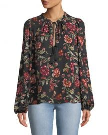A L C  Royan Tie-Neck Long-Sleeve Floral-Print Silk Top at Neiman Marcus