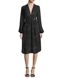 A L C  Samantha Deep-V Long-Sleeve Silk Midi Dress at Neiman Marcus