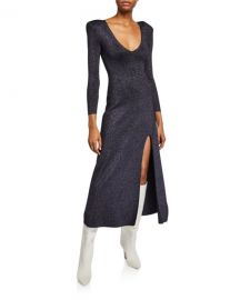 A L C  Serafina Strong-Shoulder Split Metallic Dress at Neiman Marcus