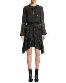 A L C  Sidney Long-Sleeve Metallic Flounce Dress at Neiman Marcus