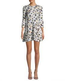 A L C  Terry 3 4-Sleeve Abstract-Print Silk A-Line Dress at Neiman Marcus