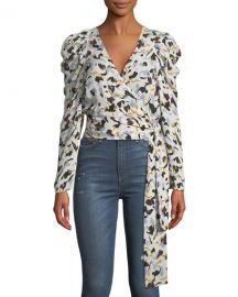 A L C  Tessa Printed Silk Long-Sleeve Wrap Top at Neiman Marcus
