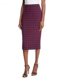 A L C  Thea Plaid Midi-Length Pencil Skirt at Neiman Marcus