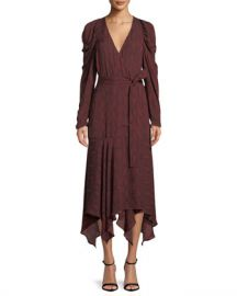 A L C  Tianna Snake-Print Long-Sleeve Wrap Dress at Neiman Marcus