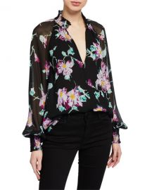 A L C  Venetia Floral High-Neck Keyhole Top at Neiman Marcus