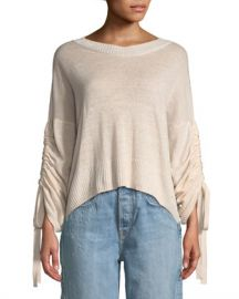 A L C  Zora Linen Cashmere-Blend Drawstring-Sleeve Sweater at Neiman Marcus