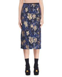 A-Line Metallic Floral-Jacquard Midi Skirt at Bergdorfgoodman