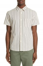 A P C  Bryan Stripe Woven Shirt at Nordstrom