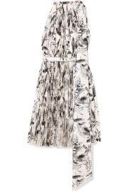 A W A K E  MODE - Doric asymmetric pleated printed faille dress at Net A Porter
