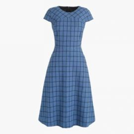 A-line dress in windowpane tweed at J. Crew