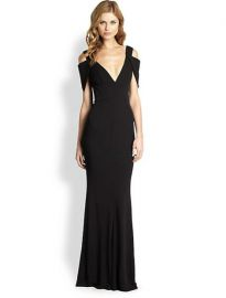 ABS - Deep V Gown in Black at Saks Fifth Avenue