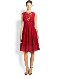 ABS - Flared Lace Overlay Dress at Saks Fifth Avenue