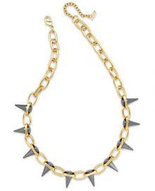 ABS by Allen Schwartz Two-Tone Spike Collar Necklace at Macys
