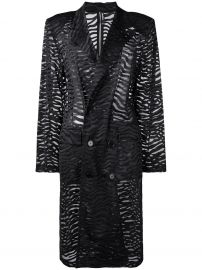 ADAM SELMAN DOUBLE BREASTED TRENCH COAT - BLACK at Farfetch