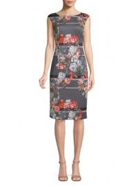 ADRIANNA PAPELL - FLORAL CAP-SLEEVE SHEATH DRESS at Lord & Taylor