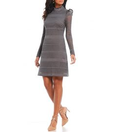 ADRIANNA PAPELL CABLE KNIT LACE A-LINE DRESS at Dillards