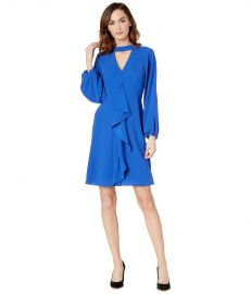 ADRIANNA PAPELL FANCY CREPE RUFFLE DRESS at Zappos