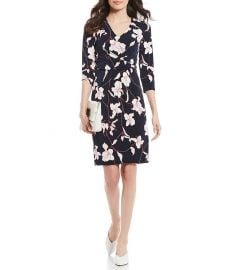 ADRIANNA PAPELL FLORAL PRINT CREPE KNIT SHEATH DRESS at Dillards