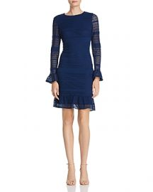 ADRIANNA PAPELL KNIT LACE BELL SLEEVE DRESS at Bloomingdales