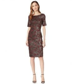 ADRIANNA PAPELL NADIA METALLIC JACQUARD SHEATH DRESS WITH ELBOW SLEEVES at Zappos