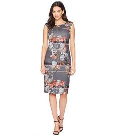 ADRIANNA PAPELL ROYAL LINED FLORAL SHEATH DRESS WITH EXPOSED ZIPPER at Zappos