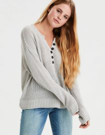 AE Oversized Henley Pullover Sweater at American Eagle