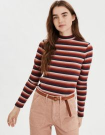 AE Striped Long Sleeve Mock Neck T-shirt at American Eagle