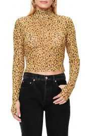AFRM Jordan Leopard Print Long Sleeve Crop Top   Nordstrom at Nordstrom