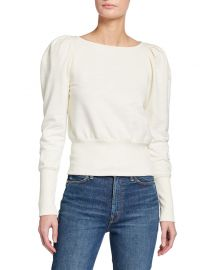 AG Adriano Goldschmied Walker Puff-Sleeve Boat-Neck Sweater at Neiman Marcus