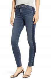 AG The Farrah High Waist Side Stripe Raw Hem Ankle Skinny Jeans  Dusky Skies    Nordstrom at Nordstrom