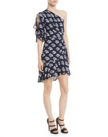 ALC  Misha One-Shoulder Ruched Floral-Print Silk Dress at Bergdorf Goodman
