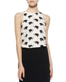 ALC Anise Panther-Print Silk Top White at Neiman Marcus