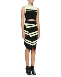 ALC Cory Striped Knit Crop Top and Clift Striped Asymmetric Wrap Skirt at Neiman Marcus