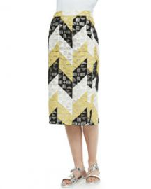 ALC Henri Ladder-Stitched Pencil Skirt at Neiman Marcus