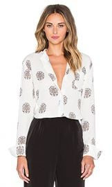ALC Julie Blouse in White Black and Pink at Revolve