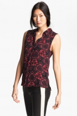 ALC Mackay Print Silk Top in Red at Nordstrom