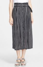 ALC McDermott Stripe Silk Midi Skirt at Nordstrom