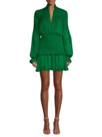 ALEXIS - SHAINA SHIRRED SILK MINI DRESS at Saks Fifth Avenue