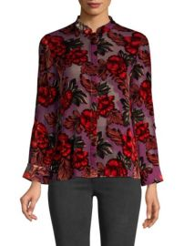 ALICE  OLIVIA - ELOISE FLORAL MANDARIN COLLAR BLOUSE at Saks Fifth Avenue