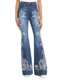 ALICE   OLIVIA JEANS Beautiful Embellished High-Rise Bell-Bottom Jeans at Neiman Marcus