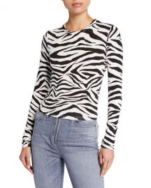 ALICE   OLIVIA JEANS Delaina Long-Sleeve Crewneck Crop Top at Neiman Marcus