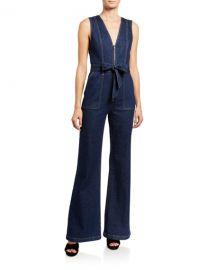 ALICE   OLIVIA JEANS Gorgeous V-Neck Denim Jumpsuit at Neiman Marcus