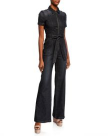 ALICE   OLIVIA JEANS Gorgeous Wide-Leg Denim Jumpsuit at Neiman Marcus