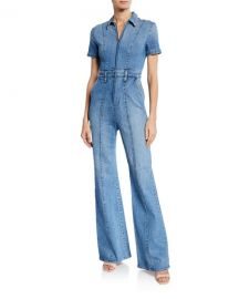 ALICE   OLIVIA JEANS Gorgeous Wide-Leg Fitted Denim Zip Jumpsuit at Neiman Marcus