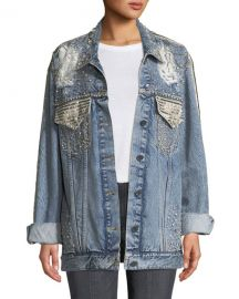 ALICE   OLIVIA JEANS Oversized Embellished Denim Jacket at Neiman Marcus