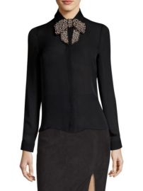 ALICE + OLIVIA - WILLA EMBELLISHED BOW BLOUSE at Saks Fifth Avenue