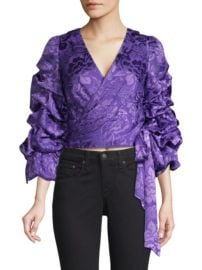 ALICE  OLIVIA - DOMINICA SILK-BLEND PUFF-SLEEVE WRAP TOP at Saks Fifth Avenue