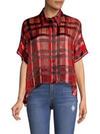 ALICE  OLIVIA - EDYTH HIGH-LOW BUTTON UP SHIRT at Saks Fifth Avenue