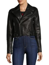 ALICE OLIVIA - CODY LEATHER CROP JACKET at Saks Fifth Avenue