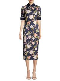 ALICE OLIVIA - DELORA FLORAL COLLARED MIDI DRESS at Saks Fifth Avenue
